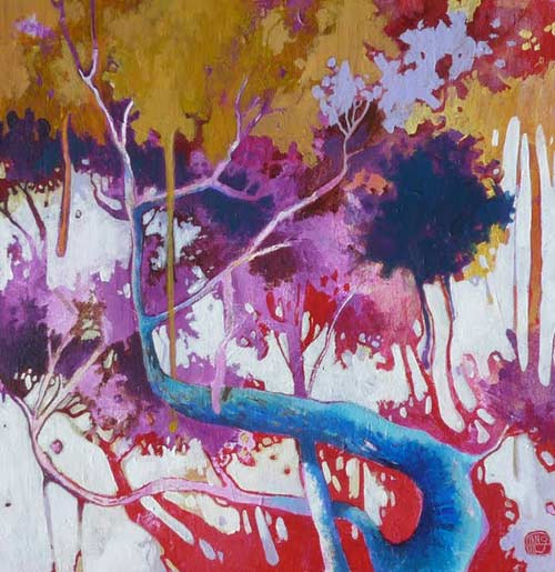 Tang, un artiste exposé aux 111 des arts, à la peinture très graphique, aux couleurs audacieuses et étonnantes.