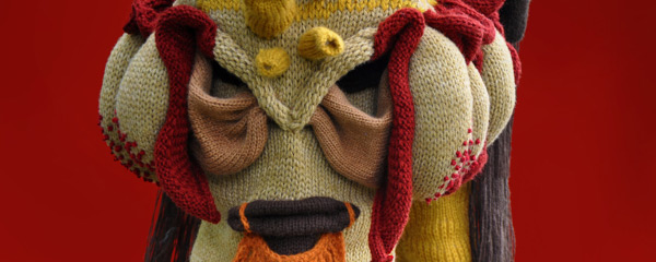 Knitting masks by artist Tracy Widdess